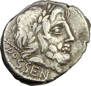 D/ L. Rubrius Dossenus. AR Denarius, 87 BC.  D/ DOSSEN. Laureate head of Jupiter right, sceptre over shoulder. R/ Triumphal quadriga right decorated with thunderbolt, Victory above; in exergue, RVBRI. Cr. 348/1. B.1. AR. g. 3.77  mm. 19.50    VF.