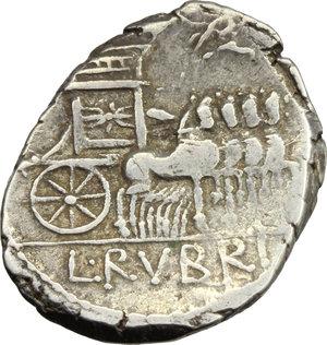 R/ L. Rubrius Dossenus. AR Denarius, 87 BC.  D/ DOSSEN. Laureate head of Jupiter right, sceptre over shoulder. R/ Triumphal quadriga right decorated with thunderbolt, Victory above; in exergue, RVBRI. Cr. 348/1. B.1. AR. g. 3.77  mm. 19.50    VF.