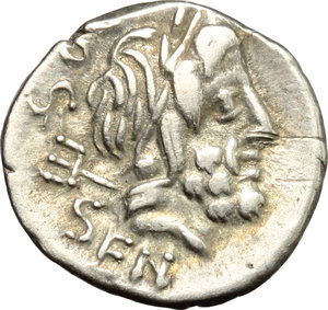 D/ L. Rubrius Dossenus. AR Quinarius, 87 BC.  D/ Head of Neptun right; over shoulder, trident. R/ Victoria standing right; holding wreath and palm; before, altar with snake coiled around top. Cr. 348/4. AR. g. 1.77  mm. 13.00    Good VF.