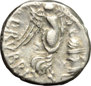 R/ L. Rubrius Dossenus. AR Quinarius, 87 BC.  D/ Head of Neptun right; over shoulder, trident. R/ Victoria standing right; holding wreath and palm; before, altar with snake coiled around top. Cr. 348/4. AR. g. 1.77  mm. 13.00    Good VF.
