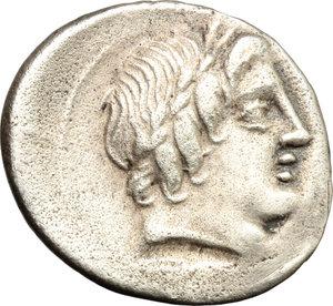 D/ C. Gargonius, Ogulnius and M. Vergilius. AR Denarius, 86 BC.  D/ Head of Apollo right, wearing oak-wreath. R/ Jupiter in quadriga right. Cr. 350A/2. AR. g. 3.32  mm. 21.00   Toned. Slightly off-centre, otherwise VF.