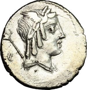 D/ L. Iulius Bursio. AR Denarius, 85 BC.  D/ Male head right with attributes of Apollo, Mercury and Neptune; behind, flower. R/ Victoria in quadriga right. Cr. 352/1. AR. g. 3.91  mm. 19.00    Good VF/VF.