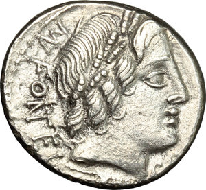 D/ Mn. Fonteius C.f. AR Denarius, 85 BC.  D/ Head of Apollo right, laureate; below, thunderbolt. R/ Cupid on goat right; before and behind, pileus; in exergue, thyrsus. Cr. 353/1. AR. g. 3.65  mm. 18.00    About EF/Good VF.