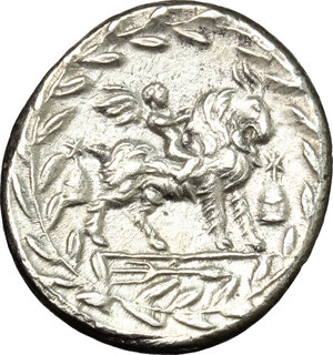 R/ Mn. Fonteius C.f. AR Denarius, 85 BC.  D/ Head of Apollo right, laureate; below, thunderbolt. R/ Cupid on goat right; before and behind, pileus; in exergue, thyrsus. Cr. 353/1. AR. g. 3.65  mm. 18.00    About EF/Good VF.