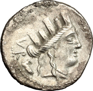 D/ P. Furius Crassipes. AR Denarius, 84 BC.  D/ Head of Cybele right, turreted; behind, foot. R/ Sella curulis. Cr. 356/1. AR. g. 3.72  mm. 21.00    VF.