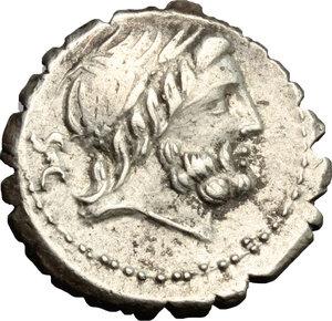 D/ Q. Antonius Balbus. AR Denarius serratus, 83-82 BC.  D/ Head of Jupiter right, laureate. R/ Victoria in quadriga right. Cr. 364/1. AR. g. 4.45  mm. 18.00    VF.