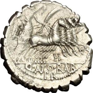 R/ Q. Antonius Balbus. AR Denarius serratus, 83-82 BC.  D/ Head of Jupiter right, laureate. R/ Victoria in quadriga right. Cr. 364/1. AR. g. 4.45  mm. 18.00    VF.