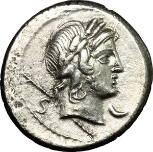 D/ P. Crepusius. AR Denarius, 82 BC.  D/ Head of a lightly bearded youth right, laureate. R/ Horseman right, brandishing spear. Cr. 361/1. AR. g. 3.52  mm. 18.00    About EF/Good VF.