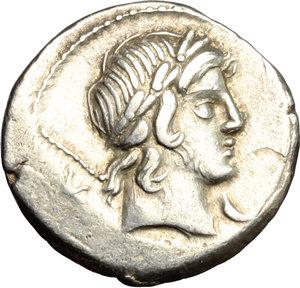 D/ P. Crepusius. AR Denarius, 82 BC.  D/ Head of a lightly bearded youth right, laureate. R/ Horseman right, brandishing spear. Cr. 361/1. AR. g. 4.02  mm. 17.00   Lightly toned. VF.