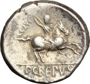 R/ P. Crepusius. AR Denarius, 82 BC.  D/ Head of a lightly bearded youth right, laureate. R/ Horseman right, brandishing spear. Cr. 361/1. AR. g. 4.02  mm. 17.00   Lightly toned. VF.