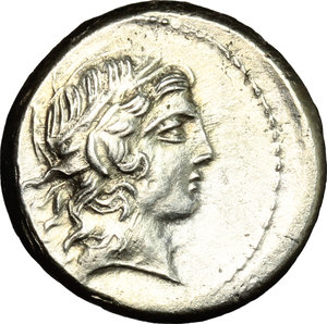 D/ L. Marcius Censorinus. AR Denarius, 82 BC.  D/ Head of Apollo right, laureate. R/ Marsyas standing left; holding wine-skin; behind, column with statue of top.. Cr. 363/1. AR. g. 3.77  mm. 17.00    About EF/Good VF.