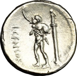 R/ L. Marcius Censorinus. AR Denarius, 82 BC.  D/ Head of Apollo right, laureate. R/ Marsyas standing left; holding wine-skin; behind, column with statue of top.. Cr. 363/1. AR. g. 3.77  mm. 17.00    About EF/Good VF.
