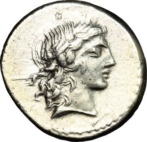 D/ L. Marcius Censorinus. AR Denarius, 82 BC.  D/ Head of Apollo right, laureate. R/ Marsyas standing left; holding wine-skin; behind, column with statue of top. Cr. 363/1. AR. g. 3.58  mm. 18.00    About EF/Good VF.