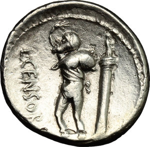 R/ L. Marcius Censorinus. AR Denarius, 82 BC.  D/ Head of Apollo right, laureate. R/ Marsyas standing left; holding wine-skin; behind, column with statue of top. Cr. 363/1. AR. g. 3.58  mm. 18.00    About EF/Good VF.