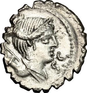D/ Ti. Claudius Ti. f. Ap. n. Nero. AR Denarius serratus, 79 BC.  D/ Head of Diana right. R/ Victoria in biga right. Cr. 383/1. AR. g. 3.75  mm. 20.00    Good VF.