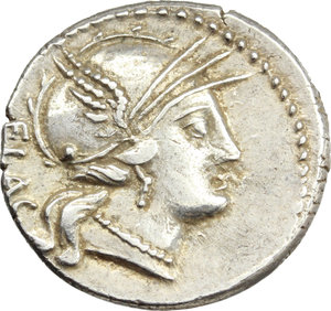 D/ L. Rutilius Flaccus. AR Denarius, 77 BC.  D/ Helmeted head of Roma right; behind, FLAC. R/ Victory in biga right, holding reins and wreath; in exergue, L. RVTILI. Cr. 387/1. B. 1. AR. g. 3.64  mm. 18.00   Metal flaw on reverse, otherwise good VF. The gash across the reverse surface is an 'adjustment al marco'. (C. Stannard 'The adjustment al marco of the weight of Roman Republican denarii blanks by gouging' in 'Metallurgy in numismatics vol 3' Royal Numismatic Society, 1993).