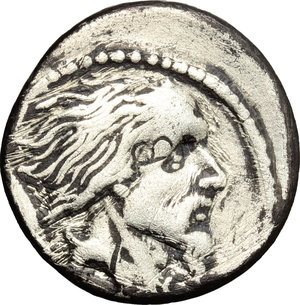 D/ L. Hostilius Saserna. AR Denarius, 48 BC.  D/ Bust of bearded male right; behind, Gallic shield. R/ Warrior in biga driven by charioteer right; looking behind, holding shield and hurling spear. Cr. 448/2. AR. g. 3.57  mm. 19.00  Rare. Banker marks on obverse. Slightly off-center. About VF.