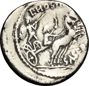 R/ L. Hostilius Saserna. AR Denarius, 48 BC.  D/ Bust of bearded male right; behind, Gallic shield. R/ Warrior in biga driven by charioteer right; looking behind, holding shield and hurling spear. Cr. 448/2. AR. g. 3.57  mm. 19.00  Rare. Banker marks on obverse. Slightly off-center. About VF.