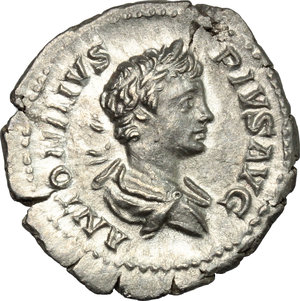 D/ Caracalla (198-217). AR Denarius, 201-210.  D/ Bust of Caracalla right, laureate, draped. R/ Victoria advancing left, holding wreath and palm. RIC 144B. AR. g. 2.30  mm. 20.00    About VF.