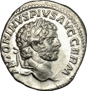 D/ Caracalla (198-217). AR Denarius, 214 AD.  D/ Head of Caracalla right, laureate. R/ Jupiter standing left, holding thunderbolt and scepter; to feet, eagle. RIC 240. AR. g. 2.25  mm. 19.00    About EF/Good VF.