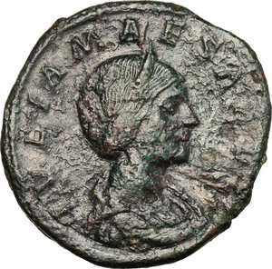 D/ Julia Maesa (died 225 AD). AE Sestertius, 218-222.  D/ Bust of Julia Maesa right, diademed, draped. R/ Pudicitia seated left; drawing veil and holding scepter. RIC (Elagabal) 417. AE. g. 20.00  mm. 32.00   Dark green patina. Good F.