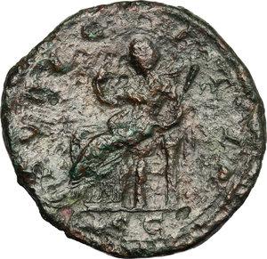R/ Julia Maesa (died 225 AD). AE Sestertius, 218-222.  D/ Bust of Julia Maesa right, diademed, draped. R/ Pudicitia seated left; drawing veil and holding scepter. RIC (Elagabal) 417. AE. g. 20.00  mm. 32.00   Dark green patina. Good F.