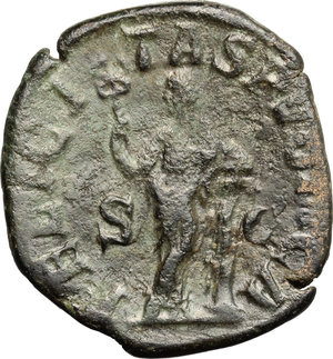 R/ Julia Mamaea (died 235 AD). AE Sestertius, 222-235.  D/ Bust of Julia Mamaea right, diademed, draped. R/ Felicitas standing left; leaning on column with crossed legs and holding caduceus. RIC (Severus Alexander) 676. AE. g. 12.96  mm. 30.00   Very fine portrait. Good VF.