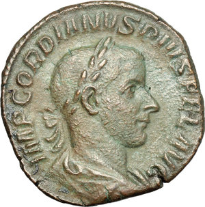 D/ Gordian III (238-244). AE Sestertius, 241-244.  D/ Bust of Gordian right, laureate, draped, cuirassed. R/ Laetitia standing left; holding wreath and anchor set on ground. RIC 300. AE. g. 18.96  mm. 29.00   Dark green patina. VF.