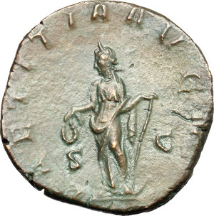 R/ Gordian III (238-244). AE Sestertius, 241-244.  D/ Bust of Gordian right, laureate, draped, cuirassed. R/ Laetitia standing left; holding wreath and anchor set on ground. RIC 300. AE. g. 18.96  mm. 29.00   Dark green patina. VF.
