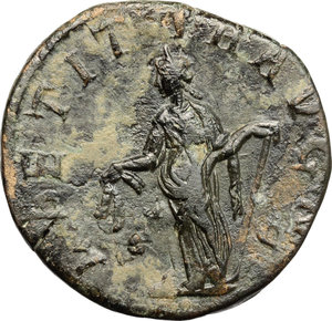 R/ Gordian III (238-244). AE Sestertius, 241-244.  D/ Bust of Gordian right, laureate, draped. R/ Laetitia standing left; holding wreath and anchor set on ground. RIC 300. AE. g. 15.76  mm. 27.00   Dark patina. VF.
