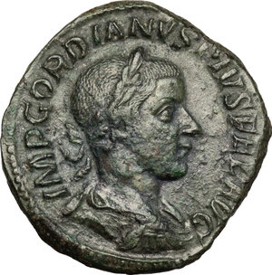 D/ Gordian III (238-244). AE Sestertius, 241-244.  D/ Bust of Gordian right, laureate, draped, cuirassed. R/ Libertas standing left; holding pileus and scepter. RIC 318. AE. g. 15.63  mm. 30.50   Green patina. Good F.