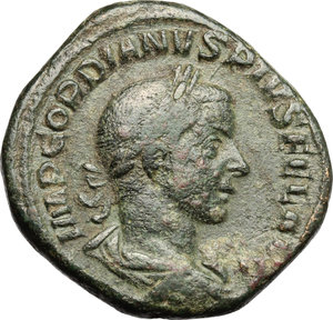 D/ Gordian III (238-244). AE Sestertius, 244 AD.  D/ Bust of Gordian right, laureate, draped, cuirassed. R/ Felicitas standing left; holding long caducaeus and cornucopiae. RIC 329. AE. g. 23.25  mm. 30.50   Dark olive-green patina. About VF.