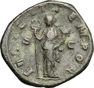 R/ Gordian III (238-244). AE Sestertius, 244 AD.  D/ Bust of Gordian right, laureate, draped, cuirassed. R/ Felicitas standing left; holding long caducaeus and cornucopiae. RIC 329. AE. g. 23.25  mm. 30.50   Dark olive-green patina. About VF.