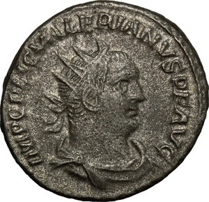 D/ Valerian I (253-260). BI Antoninianus, Antioch mint, 255-256.  D/ Bust of Valerian right, radiate, cuirassed. R/ Valerian and Gallienus standing face to face, the one holding spear and globe, the other Victoria and spear. RIC 293. BI. g. 3.76  mm. 20.00   Toned. About VF.