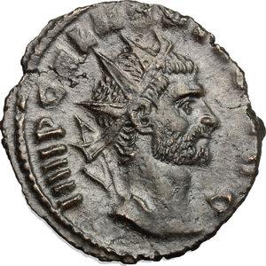 D/ Gallienus (253-268). BI Antoninianus, 257-258.  D/ Head of Gallienus right, radiate. R/ Providentia standing left, leaning on column; holding baton and cornucopiae; at her feet, globe. RIC 163. BI. g. 2.18  mm. 20.00   Dark patina. About VF/F.