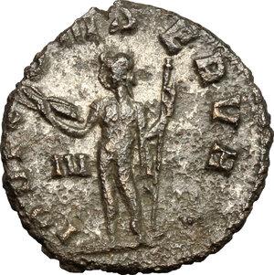 R/ Gallienus (253-268). BI Antoninianus, 260-268.  D/ Head of Gallienus right, radiate. R/ Jupiter standing left wearing cloak on left shoulder; holding thunderbolt and long scepter. RIC 208. BI. g. 3.30  mm. 19.00    About VF.
