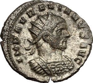 D/ Aurelian (270-275). BI Antoninianus, Mediolanum mint, 270-275.  D/ Bust of Aurelian right, radiate, cuirassed. R/ Emperor standing right; clasping hands with Concordia standing left. RIC 120. BI. g. 3.95  mm. 23.00   Toned. VF.