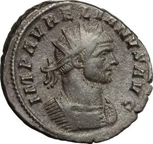 D/ Aurelian (270-275). BI Antoninianus, Siscia mint, 270-275.  D/ Bust of Aurelian right, radiate, cuirassed. R/ Emperor standing right, holding scepter; receiving globe from Jupiter standing left, holding scepter. RIC 225. BI. g. 3.45  mm. 22.00   Dark patina. VF.