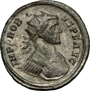 D/ Probus (276-282). AR Antoninianus, 276-282.  D/ Bust of Probus right, radiate, cuirassed. R/ Fides standing left; holding ensign in each hand. RIC - cf. 170 (other obv. legend). AR. g. 3.81  mm. 22.00   Toned. VF.