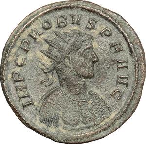 D/ Probus (276-282). BI Antoninianus, Ticinium mint, 276-282.  D/ Bust of Probus right, radiate, cuirassed. R/ Emperor standing right, receiving globe from Jupiter standing left. RIC 385. BI. g. 3.33  mm. 22.00   Dark  green patina. About VF.
