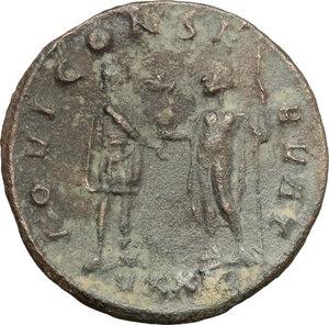 R/ Probus (276-282). BI Antoninianus, Ticinium mint, 276-282.  D/ Bust of Probus right, radiate, cuirassed. R/ Emperor standing right, receiving globe from Jupiter standing left. RIC 385. BI. g. 3.33  mm. 22.00   Dark  green patina. About VF.