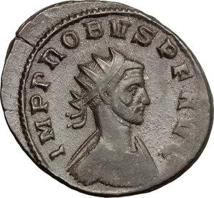 D/ Probus (276-282). BI Antoninianus, Siscia mint, 276-282.  D/ Bust of Probus right, radiate, cuirassed. R/ Concordia standing left; holding patera and cornucopiae. RIC 661. BI. g. 3.69  mm. 22.00   Dark patina. Good VF.