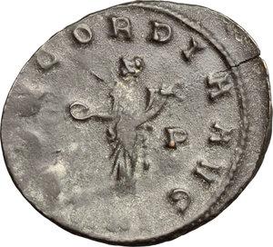 R/ Probus (276-282). BI Antoninianus, Siscia mint, 276-282.  D/ Bust of Probus right, radiate, cuirassed. R/ Concordia standing left; holding patera and cornucopiae. RIC 661. BI. g. 3.69  mm. 22.00   Dark patina. Good VF.