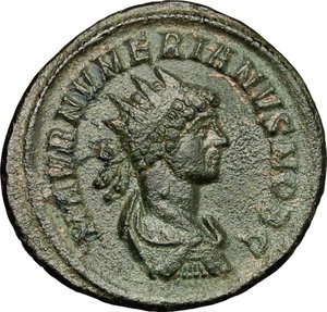 D/ Numerian as Caesar (282-283). AE Antoninianus, 282-283.  D/ Bust of Numerian right, radiate, draped, cuirassed. R/ Numerian standing left, holding baton and scepter. RIC (Carus) 361. AE. g. 3.78  mm. 22.00   Green patina. About VF.