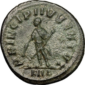 R/ Numerian as Caesar (282-283). AE Antoninianus, 282-283.  D/ Bust of Numerian right, radiate, draped, cuirassed. R/ Numerian standing left, holding baton and scepter. RIC (Carus) 361. AE. g. 3.78  mm. 22.00   Green patina. About VF.