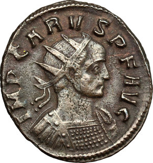 D/ Carus (282-283). BI Antoninianus, Ticinium mint, 282-283.  D/ Bust of Carus right, radiate, cuirassed. R/ Pax standing left, holding olive branch and ensign. RIC 75. BI. g. 2.69  mm. 22.00    About VF.