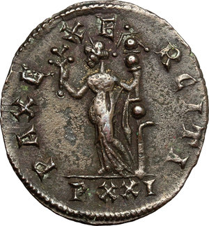 R/ Carus (282-283). BI Antoninianus, Ticinium mint, 282-283.  D/ Bust of Carus right, radiate, cuirassed. R/ Pax standing left, holding olive branch and ensign. RIC 75. BI. g. 2.69  mm. 22.00    About VF.
