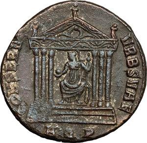 R/ Maximianus (286-310). AE follis, Aquileia mint, 307 AD.  D/ Head of Maximianus right, laureate. R/ Roma seated in hexastyle temple; holding globe and scepter; as acroteria, figures; in pediment, wreath. RIC 118. AE. g. 7.00  mm. 25.00   Dark brown patina. About VF.