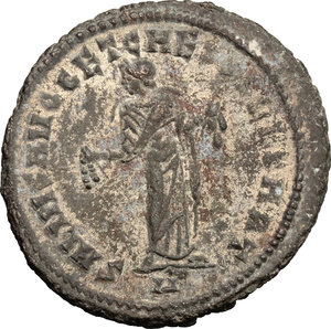 R/ Galerius as Caesar (293-305). AE Follis, Carthage mint, 298-299.  D/ Head of Galierus right, laureate. R/ Carthago standing facing, head left; holding fruits in both hands. RIC 30b. AE. g. 11.48  mm. 28.00   Nice portrait. About VF/F.