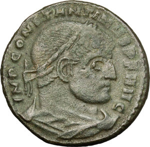D/ Constantine I (307-337). AE follis, Rome mint, 312-313.  D/ Bust of Constantine right, laureate, draped. R/ Legionary eagle between two vexilla. RIC VI 348a. AE. g. 4.60  mm. 22.00   Green patina. About VF/Good F.